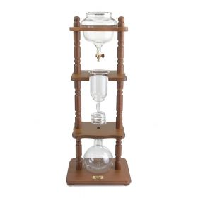 Yama 6-8 Cup Cold Drip Maker with Wooden Frame -Curved Brown Wood Frame